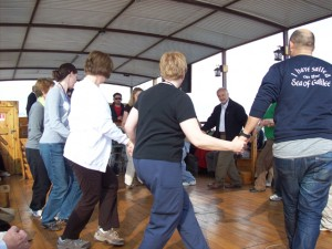"Dancing to ""Hava Nagillah"" on board the boat on the Sea of Galilee"