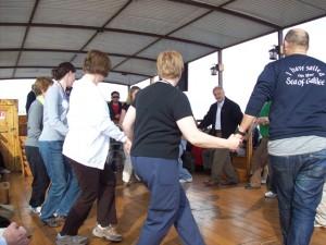 "Dancing to ""Hava Nagillah"" on board the boat on the Sea of Galilee"