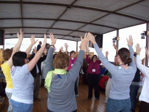 More dancing on board the boat on the Sea of Galilee