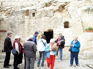A group outside the Garden Tomb. What a lovely place and a powerful spiritual feeling.