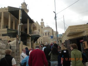 Walking to the traditional site of Lazarus' Tomb in Bethany