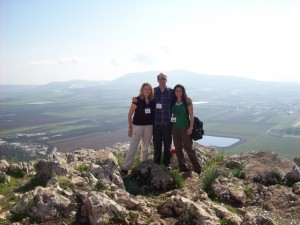 Three new friends at the Precipice Mount near Nazareth, overlooking Jezreel Valley