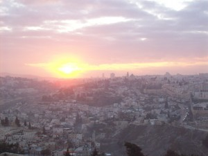 Sunset over Jerusalem as seen from the Mount of Olives