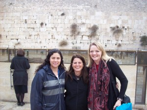 3 new friends at the Western Wall (Wailing Wall) in Jerusalem.